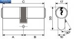 Секретен патрон MLS R.L.36/41 мм.Никел.С 4  ключа.С палец БДС.